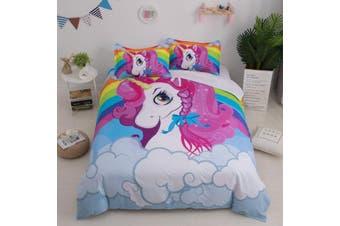 3D Cartoon  Unicorn  Quilt Cover Set Bedding Set Pillowcases-King