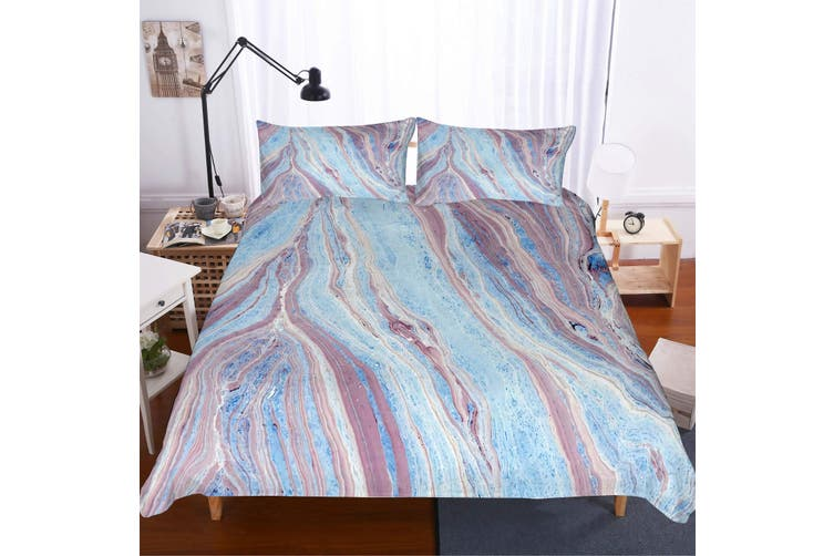 3D Blue-tones  Marble texture Set Quilt Cover Quilt Duvet Cover  Pillowcases Personalized  Bedding        -Double