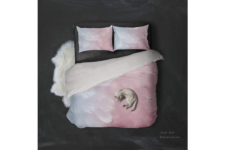 3D Pink  Soft  Feathery  Quilt Cover Set Bedding Set Pillowcases-King