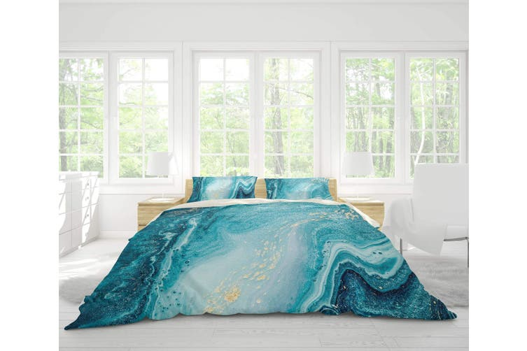 3D Blue-tones  Marbled  Quilt Cover Set Bedding Set Pillowcases-Queen
