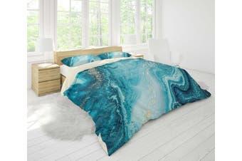 3D Blue-tones  Marbled  Quilt Cover Set Bedding Set Pillowcases-King