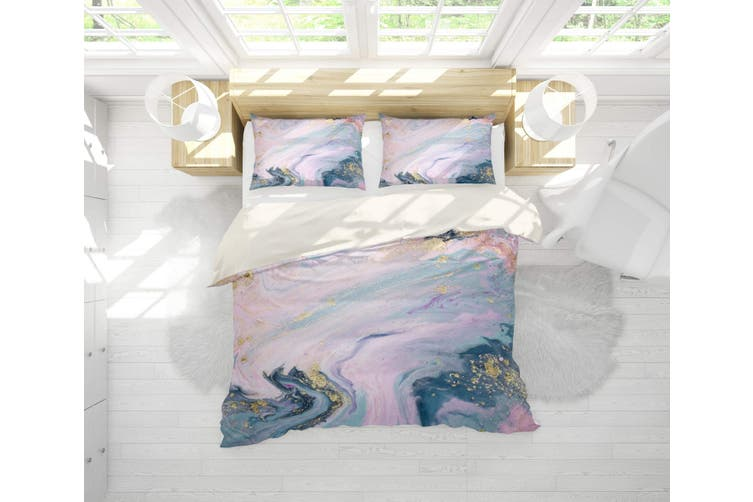3D Pink-tones  Marbled  Quilt Cover Set Bedding Set Pillowcases-Single