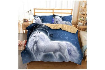 3D Cartoon Kids Night Unicorn Bedding Set Quilt Cover Quilt Duvet Cover Pillowcases Personalized  Bedding       -King