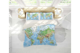 3D Detail  World map Bedding Set Quilt Cover Quilt Duvet Cover Pillowcases JAD 5 Personalized  Bedding       -King