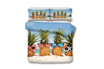 3D Summer Beach Pineapple  Bedding Set Quilt Cover Quilt Duvet Cover Pillowcases Personalized  Bedding       -Queen
