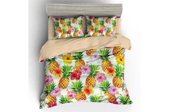 3D Colorful Flower Pineapple  Bedding Set Quilt Cover Quilt Duvet Cover Pillowcases Personalized  Bedding       -Queen
