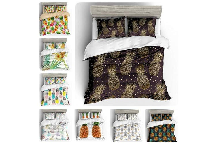3D White Colorful Pineapple  Bedding Set Quilt Cover Quilt Duvet Cover Pillowcases Personalized  Bedding       -King