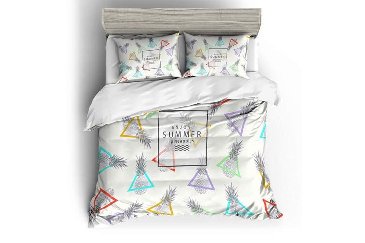 3D White Triangle Pineapple  Bedding Set Quilt Cover Quilt Duvet Cover Pillowcases Personalized  Bedding       -Double