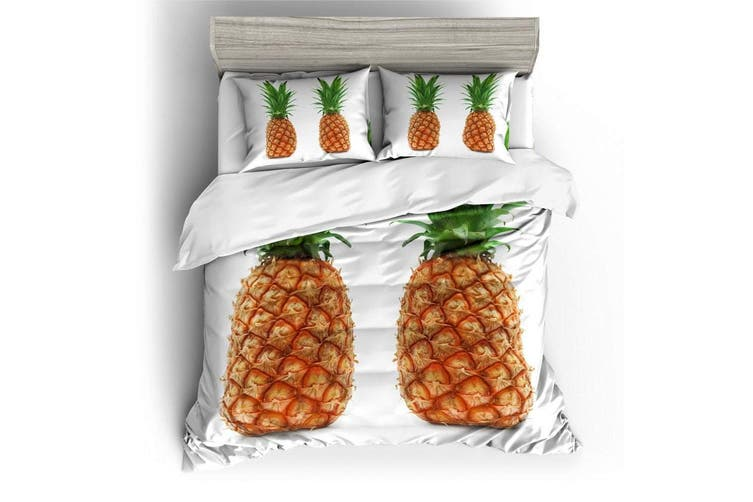 3D White  Pineapple  Bedding Set Quilt Cover Quilt Duvet Cover Pillowcases Personalized  Bedding       -King
