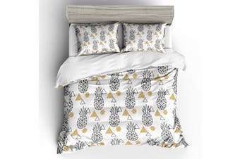 3D White Abstract Triangle Pineapple Bedding Set Quilt Duvet Cover Pillowcases Personalized Bedding     -Single