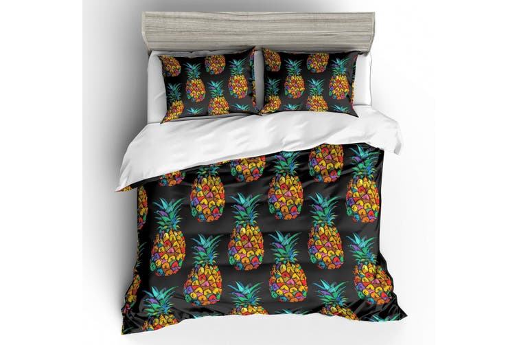 3D Black Colorful Pineapple  Bedding Set Quilt Cover Quilt Duvet Cover Pillowcases Personalized  Bedding       -Queen