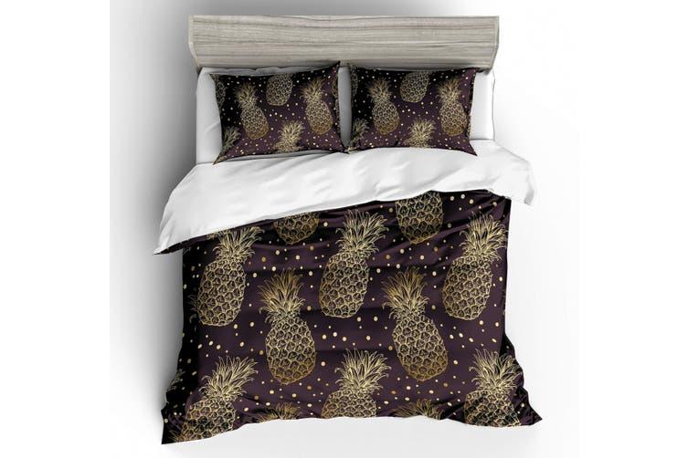 3D Dark Golden Pineapple  Bedding Set Quilt Cover Quilt Duvet Cover Pillowcases Personalized  Bedding       -Single