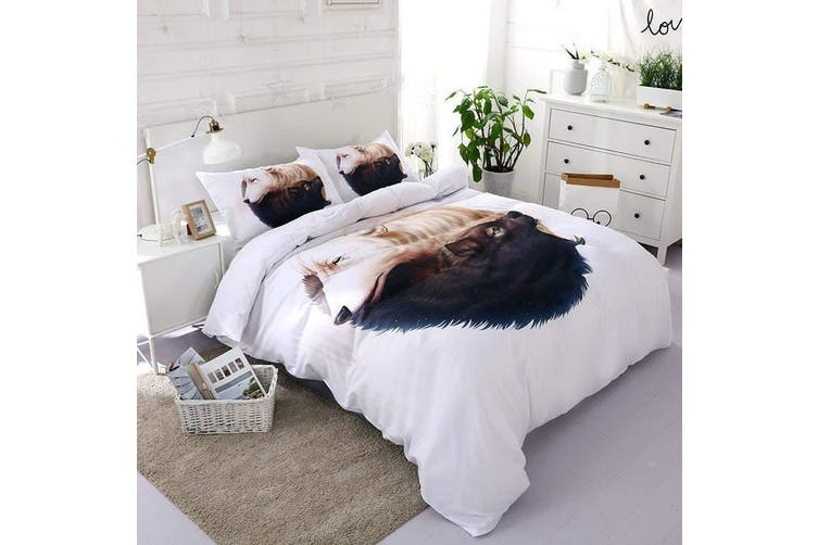 3D White Wolf   Bedding Set Quilt Cover Quilt Duvet Cover Pillowcases Personalized  Bedding       -King