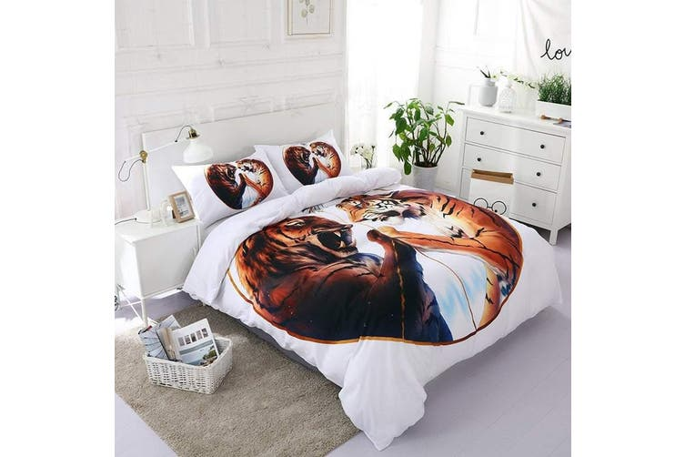 3D White Tiger  Bedding Set Quilt Cover Quilt Duvet Cover Pillowcases Personalized  Bedding       -Single