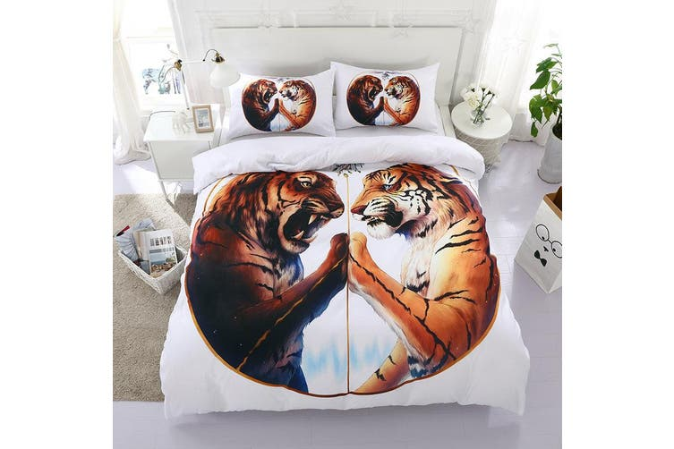 3D White Tiger  Bedding Set Quilt Cover Quilt Duvet Cover Pillowcases Personalized  Bedding       -Queen