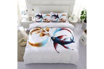 3D White Colorful Carp Cyprinoid Bedding Set Quilt Cover Quilt Duvet Cover Pillowcases Personalized Bedding       -Double