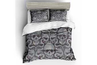 3D Black Grey Skull  Bedding Set Quilt Cover Quilt Duvet Cover Pillowcases Personalized  Bedding       -Single