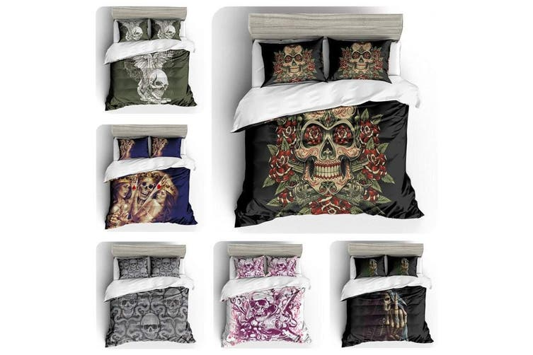 3D White Pink Skull  Bedding Set Quilt Cover Quilt Duvet Cover Pillowcases Personalized  Bedding       -Queen