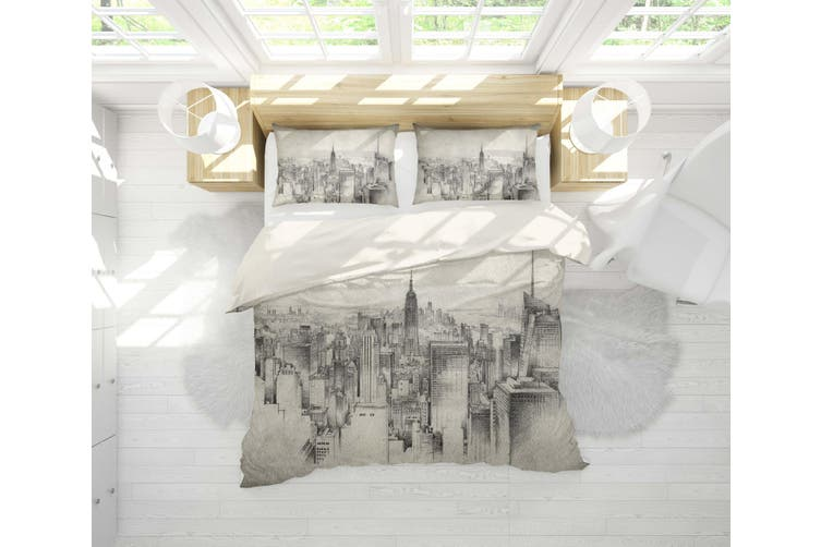 3D Hand-painted  Architecture Bedding Set Quilt Cover Quilt Duvet Cover Pillowcases Personalized  Bedding       -Double