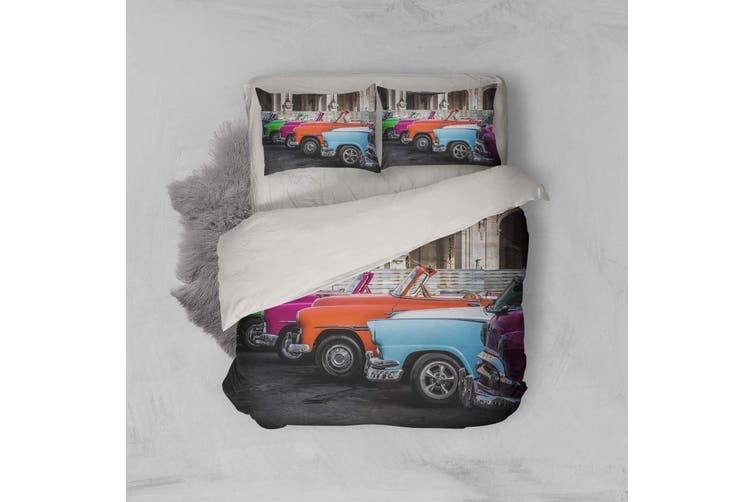 3D Vintage car Bedding Set Quilt Cover Quilt Duvet Cover Pillowcases Personalized  Bedding       -King