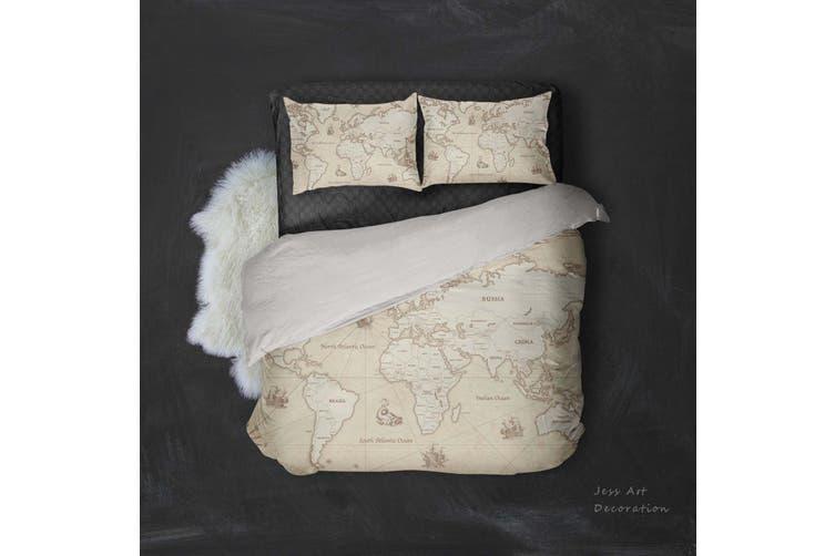 3D Vintage  World map Bedding JAD3 Set Quilt Cover Quilt Duvet Cover Pillowcases Personalized  Bedding JAD3       -King