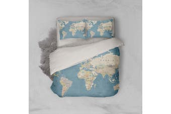 3D Traditional  World map Bedding Set Quilt Cover Quilt Duvet Cover Pillowcases Personalized  Bedding       -Single