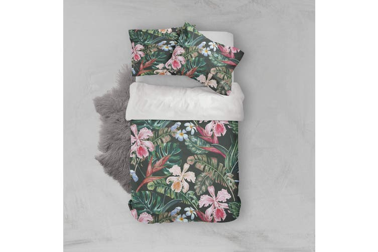 3D Tropical flower Bedding Set Quilt Cover Quilt Duvet Cover Pillowcases Personalized  Bedding       -King
