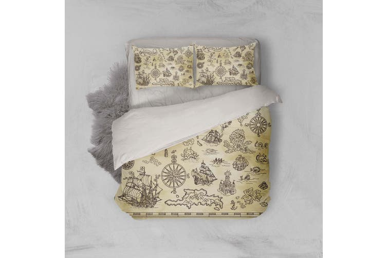 3D Treasure map Bedding Set Quilt Cover Quilt Duvet Cover Pillowcases Personalized  Bedding       -Queen