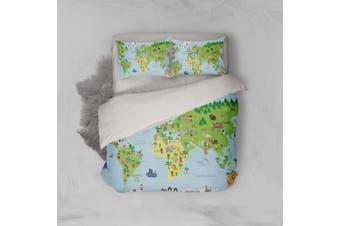 3D Cartoon  World map Bedding JAD 6 Set Quilt Cover Quilt Duvet Cover Pillowcases Personalized  Bedding JAD 6       -Queen