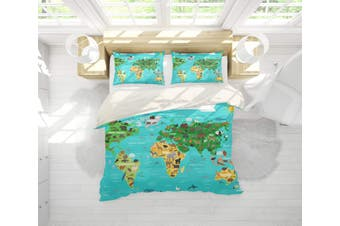 3D Cartoon  Map of the world Bedding JAD 7 Set Quilt Cover Quilt Duvet Cover Pillowcases Personalized  Bedding JAD 7       -Queen