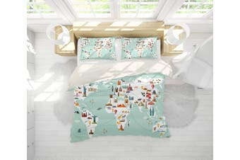 3D Cartoon  World map Bedding JAD 8 Set Quilt Cover Quilt Duvet Cover Pillowcases Personalized  Bedding JAD 8       -Queen