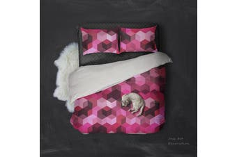 3D Pink  Polygonal graphic Bedding JAD 8 Set Quilt Cover Quilt Duvet Cover Pillowcases Personalized  Bedding JAD 8       -Queen