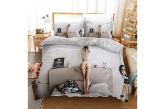3D Bikini Beauty White Quilt Cover Set Bedding Set Pillowcases 175-Double