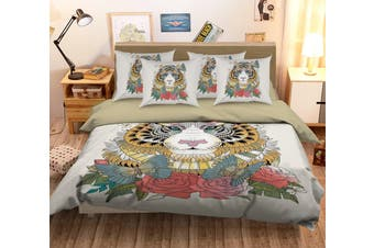 3D Tiger Flower MM140 Duvet Cover Bedding Set Quilt Cover Quilt Duvet Cover Pillowcases Bedding       -Queen