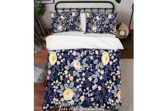 3D Yellow Floral Pattern Quilt Cover Set Bedding Set Pillowcases 204-Queen