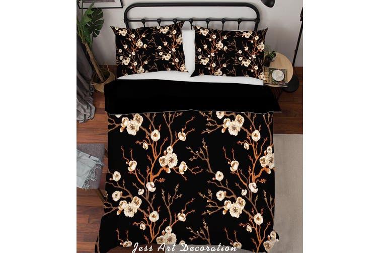 3D White Flower Branch Quilt Cover Set Bedding Set Pillowcases 203-Single