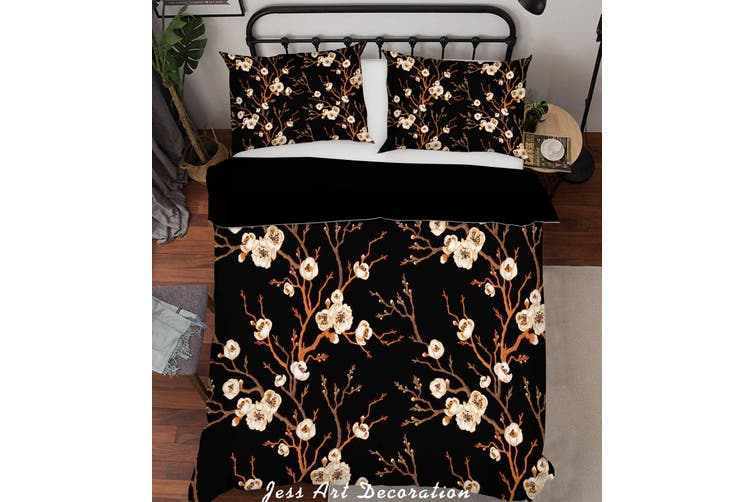 3D White Flower Branch Quilt Cover Set Bedding Set Pillowcases 203-Double