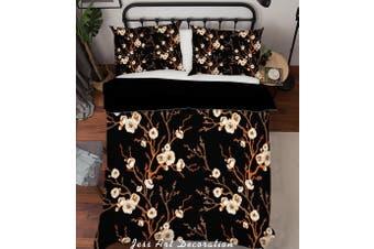 3D White Flower Branch Quilt Cover Set Bedding Set Pillowcases 203-Queen