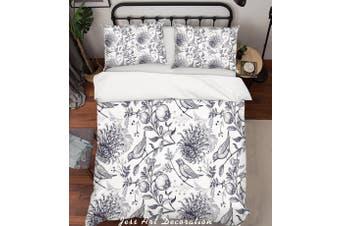 3D Chrysanthemum Bird Grey Quilt Cover Set Bedding Set Pillowcases 195-Single