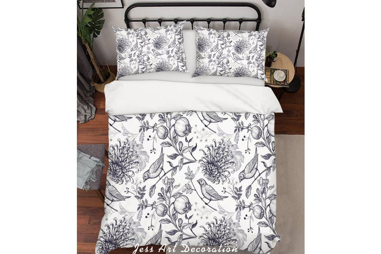 3D Chrysanthemum Bird Grey Quilt Cover Set Bedding Set Pillowcases 195-Double