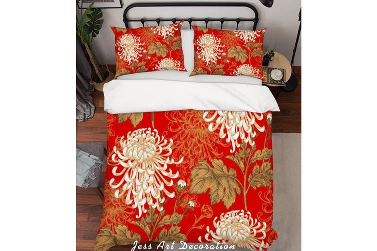 3D Chrysanthemum Red Quilt Cover Set Bedding Set Pillowcases 194-Single