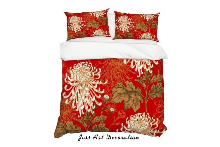 3D Chrysanthemum Red Quilt Cover Set Bedding Set Pillowcases 194-Double