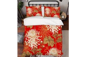 3D Chrysanthemum Red Quilt Cover Set Bedding Set Pillowcases 194-King