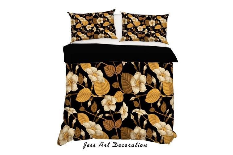 3D Golden Flowers Leaves Quilt Cover Set Bedding Set Pillowcases 193-Single