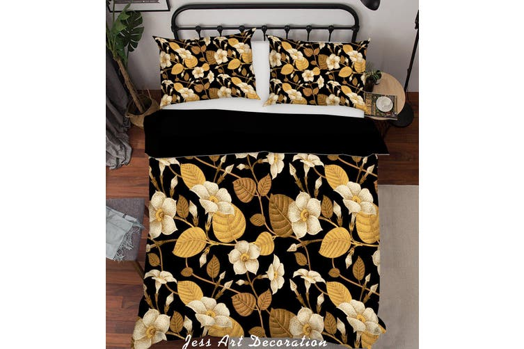 3D Golden Flowers Leaves Quilt Cover Set Bedding Set Pillowcases 193-King