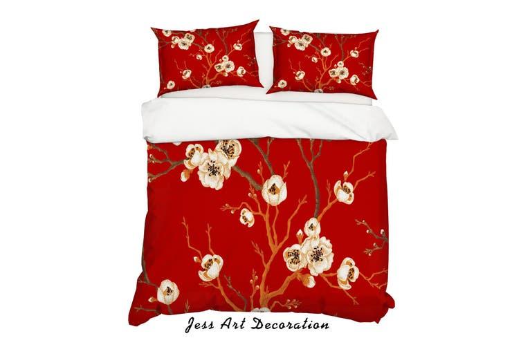 3D Red Plum Branch Quilt Cover Set Bedding Set Pillowcases 192-King