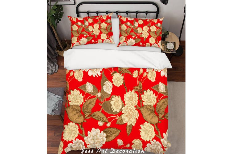 3D Red Flowers Quilt Cover Set Bedding Set Pillowcases 190-Double