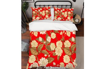3D Red Flowers Quilt Cover Set Bedding Set Pillowcases 190-King