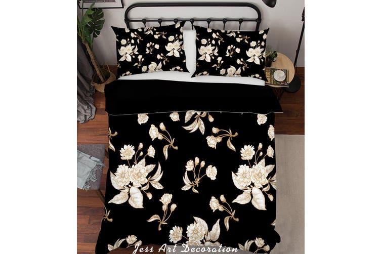 3D White Flowers Quilt Cover Set Bedding Set Pillowcases 189-Double