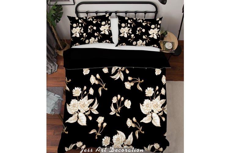 3D White Flowers Quilt Cover Set Bedding Set Pillowcases 189-King